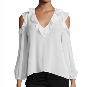 NEW Alice +Olivia Gia Ruffled Cold-Shoulder Blouse